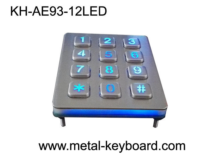 Illuminated 3 X 4 Layout 12 Key Metal Numeric Keypad Stainless Steel For Access Control