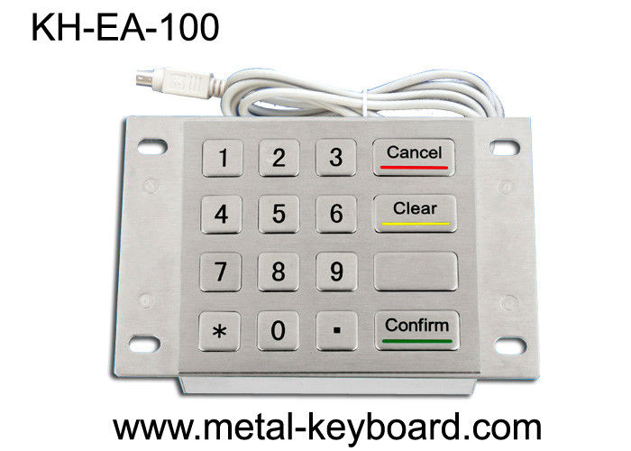 Rugged Stainless Steel Metal Keypad 4 x 4 Matrix for Bank Kiosk