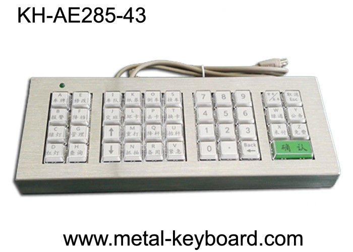 Customized 43 Buttons Metal Kiosk Keyboard, Stainless Steel Vandal Resistant Dust Proof