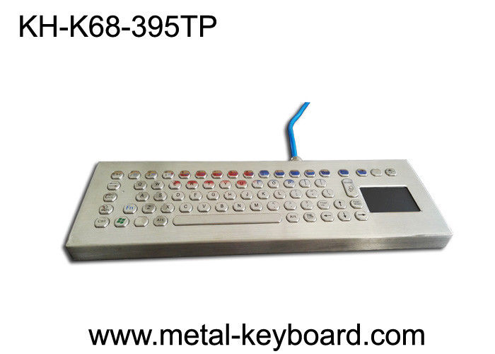 Vandal resistant 70 PC Ruggedized Keyboard Panel Mount layout with touchpad