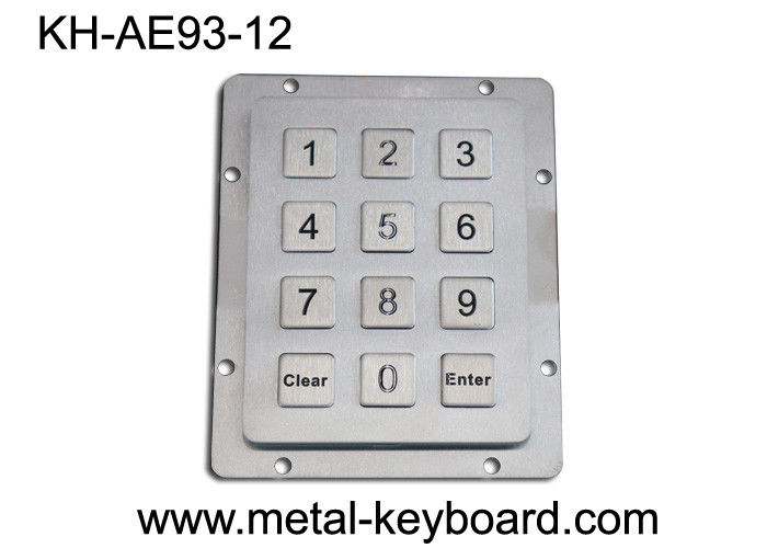 Water Proof uggedized Metal Keypad , 12 Keys Industrial stainless steel keypad