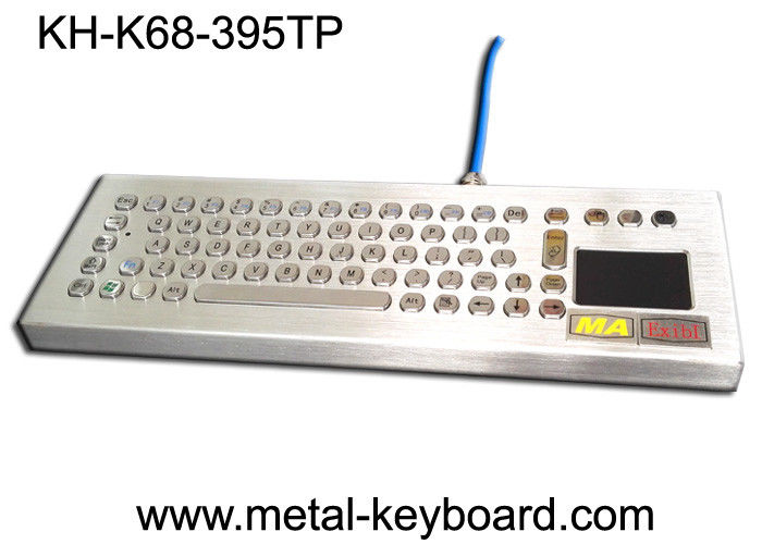 Industrial Ruggedized Keyboard Desktop Metal Computer Touchpad Customized Layout